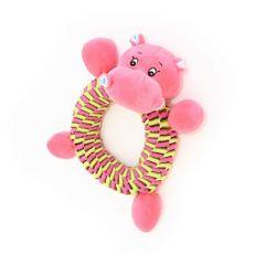 Canem plysjdyr med flettet nylonring 26cm rosa