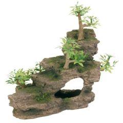 Akvariedekorasjon klippe med planter
