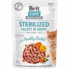 Brit Care Cat Filet Gravy Rabbit Sterilized 85g