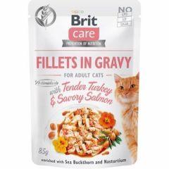 Brit Care Cat Filet Gravy Kalkun & Laks 85g