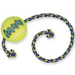 Kong Air Squeaker tennisball med tau 6cm