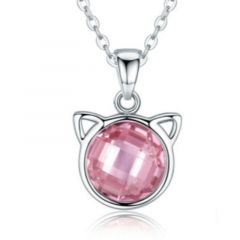 PetGems sølvsmykke med katteanheng og rosa sten