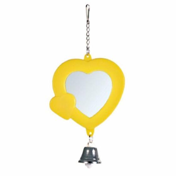 Hjerteformet speil med bjelle